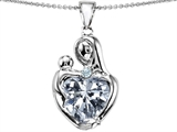 Original Star K™ Large Loving Mother With Child Pendant with 12mm Heart Shape Genuine White Topaz