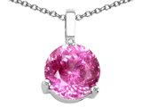 Tommaso Design Round 7mm Created Pink Sapphire Pendant