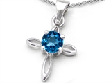 Original Star K Round Genuine Blue Topaz Cross Pendant