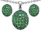 Original Star K Simulated Emerald Oval Puffed Pendant Box Set with matching earrings