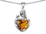 Original Star K™ Loving Mother With Child Hugging Pendant With 8mm Heart Shape Simulated Citrine