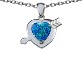 Star K™ Heart with Arrow Love Pendant Necklace with Heart Shape 8mm Blue Created Opal style: 306627