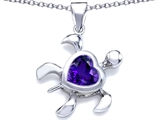Original Star K Large 10mm Heart Shape Simulated Amethyst Sea Turtle Pendant