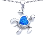 Original Star K™ Large 10mm Heart Shape Created Blue Opal Sea Turtle Pendant