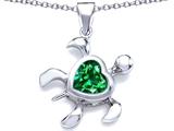 Original Star K™ Large 10mm Heart Shape Simulated Emerald Sea Turtle Pendant style: 306636