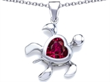 Original Star K Large 10mm Heart Shape Created Ruby Sea Turtle Pendant