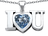 Star K™ 8mm Heart Shape Simulated Aquamarine I Love You Heart Pendant Necklace style: 306658