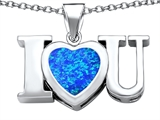 Star K™ 8mm Heart Shape Blue Created Opal I Love You Heart Pendant Necklace style: 306659