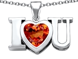Original Star K™ 8mm Heart Shape Simulated Mexican Orange Fire Opal I Love You Heart Pendant
