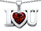 Original Star K 8mm Heart Shape Simulated Garnet I Love You Heart Pendant