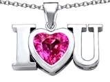 Star K™ 8mm Heart Shape Created Pink Sapphire I Love You Heart Pendant Necklace style: 306666
