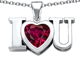 Star K™ 8mm Heart Shape Created Ruby I Love You Heart Pendant Necklace style: 306667