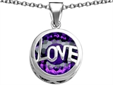 Original Star K Large Love Round Pendant with 15mm Round Simulated Amethyst