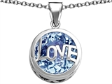 Original Star K Large Love Round Pendant with 15mm Round Simulated Aquamarine