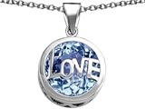Original Star K™ Large Love Round Pendant with 15mm Round Simulated Aquamarine style: 306672
