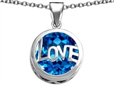 Original Star K Large Love Round Pendant with 15mm Round Simulated Blue Topaz