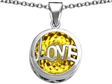 Star K™ Large Love Round Pendant Necklace with 15mm Round Simulated Citrine style: 306674
