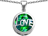 Original Star K Large Love Round Pendant with 15mm Round Simulated Emerald
