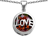 Original Star K Large Love Round Pendant with 15mm Round Simulated Garnet