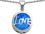 Original Star K™ Large Love Round Pendant with 15mm Round Created Blue Opal