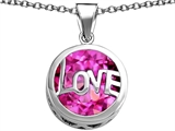 Star K™ Large Love Round Pendant Necklace with 15mm Round Created Pink Sapphire style: 306682