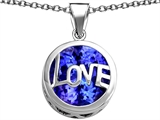 Star K™ Large Love Round Pendant Necklace with 15mm Round Created Sapphire style: 306683