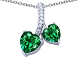 Original Star K 8mm and 7mm Heart Shape Simulated Emerald Double Hearts Pendant
