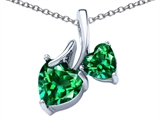 Star K™ 8mm and 6mm Heart Shape Simulated Emerald Double Hearts Pendant Necklace style: 306694