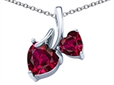 Star K™ 8mm and 6mm Heart Shape Created Ruby Double Hearts Pendant Necklace style: 306698