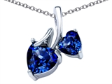Star K™ 8mm and 6mm Heart Shape Created Sapphire Double Hearts Pendant Necklace style: 306699
