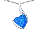 Star K™ Large 10mm Heart Shape Blue Created Opal Heart Pendant Necklace style: 306701