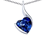 Star K™ Large 10mm Heart Shape Created Sapphire Heart Pendant Necklace style: 306707