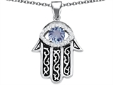 Original Star K Kabbalah Good Luck Hamsa Evil Eye Protection Pendant with Round Simulated Aquamarine
