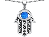 Original Star K Kabbalah Good Luck Hamsa Evil Eye Protection Pendant with Round Created Blue Opal