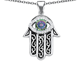 Original Star K Kabbalah Good Luck Hamsa Evil Eye Protection Pendant with Round Rainbow Mystic Topaz
