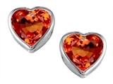 Original Star K 7mm Heart Shape Simulated Mexican Orange Fire Opal Heart Earring Studs