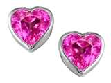 Original Star K 7mm Heart Shape Created Pink Sapphire Heart Earring Studs