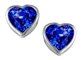 Original Star K 7mm Heart Shape Simulated Tanzanite Heart Earring Studs
