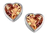Original Star K 7mm Heart Shape Simulated Imperial Yellow Topaz Heart Earring Studs