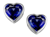 Original Star K 7mm Heart Shape Created Sapphire Heart Earring Studs
