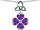 Celtic Love by Kelly™ Lucky Shamrock with Celtic Knot made with Heart 6mm Genuine Amethyst