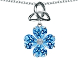 Celtic Love by Kelly™ Lucky Shamrock with Celtic Knot made with Heart 6mm Genuine Blue Topaz