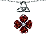 Celtic Love by Kelly™ Lucky Shamrock with Celtic Knot made with Heart 6mm Genuine Garnet