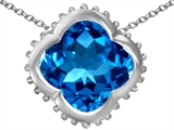 Star K™ Large Clover Pendant Necklace with 12mm Clover Cut Simulated Blue Topaz style: 306754