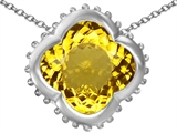 Star K™ Large Clover Pendant Necklace with 12mm Clover Cut Simulated Citrine style: 306755