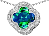 Original Star K Large Clover Pendant with 12mm Clover Cut Simulated Emerald