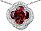 Star K™ Large Clover Pendant Necklace with 12mm Clover Cut Simulated Garnet style: 306758