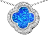 Star K™ Large Clover Pendant Necklace with 12mm Clover Cut Blue Created Opal style: 306760