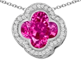 Star K™ Large Clover Pendant Necklace with 12mm Clover Cut Created Pink Sapphire style: 306762