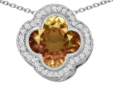 Original Star K™ Large Clover Pendant with 12mm Clover Cut Simulated Imperial Yellow Topaz